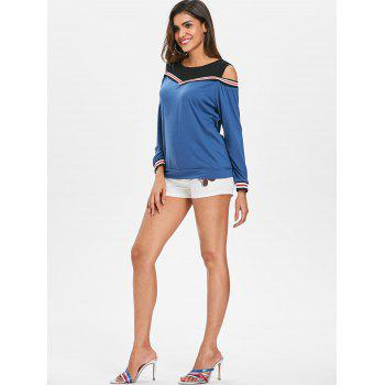 Cold Shoulder Striped Insert Sweatshirt - WINDOWS BLUE L