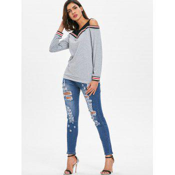 Cold Shoulder Striped Insert Sweatshirt - GRAY XL