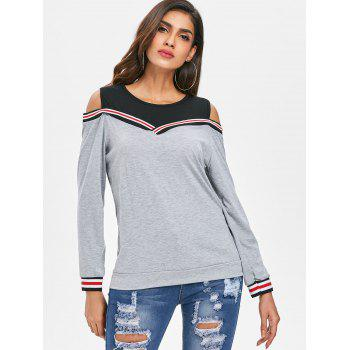 Cold Shoulder Striped Insert Sweatshirt - GRAY L