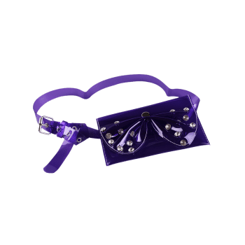 Stylish Rhinestone Bowknot Funny Bag Jelly Belt Bag - PURPLE