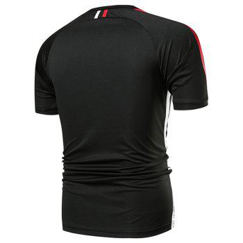 Stripe Panel Applique Quick Dry Sports T-shirt - BLACK 2XL