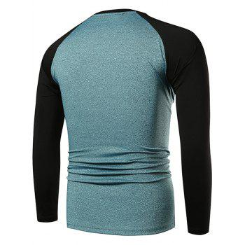 Quick Dry Contrast Color Applique Sports T-shirt - GLACIAL BLUE ICE XL