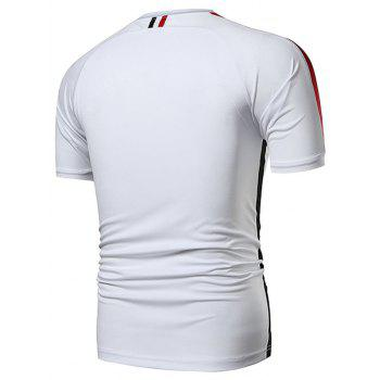 Stripe Panel Applique Quick Dry Sports T-shirt - WHITE 2XL