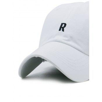 Letter R Embroidery Adjustable Hip Hop Hat - WHITE