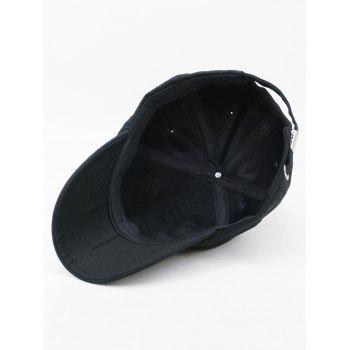 Time To Sleep Embroidery Adjustable Sunscreen Hat - BLACK