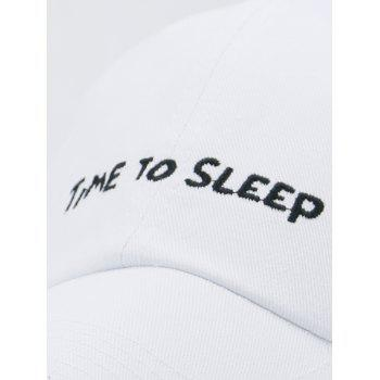 Time To Sleep Embroidery Adjustable Sunscreen Hat - WHITE