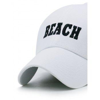 BEACH Embroidery Adjustable Snapback Hat - WHITE