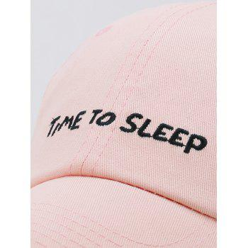 Time To Sleep Embroidery Adjustable Sunscreen Hat - LIGHT PINK