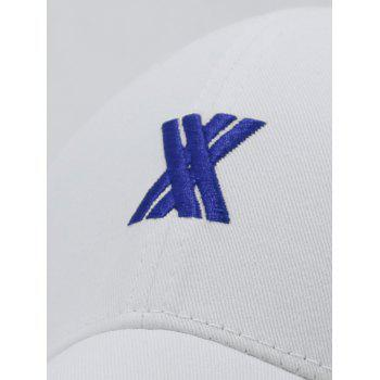 XX Embroidery Adjustable Baseball Hat - WHITE