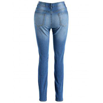 High Waisted Skinny Destroyed Jeans - JEANS BLUE M