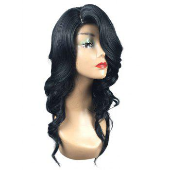 Long Side Parting Wavy Capless Heat Resistant Synthetic Wig - BLACK