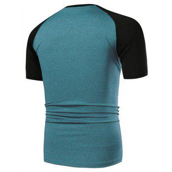 Applique Contrast Color Fast Dry Breathable Activewear T-shirt - GLACIAL BLUE ICE XL