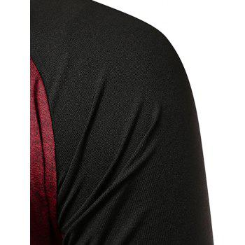 Applique Contrast Color Fast Dry Breathable Activewear T-shirt - RED WINE L