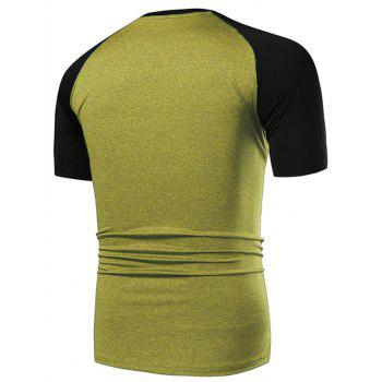 Applique Contrast Color Fast Dry Breathable Activewear T-shirt - CORN YELLOW XL