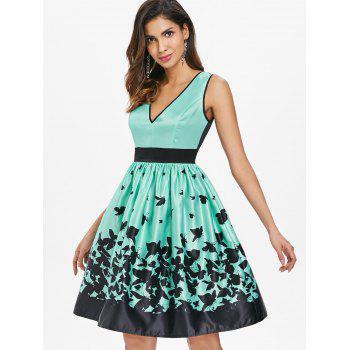 A Line Sleeveless Butterflies Dress - LIGHT AQUAMARINE 2XL