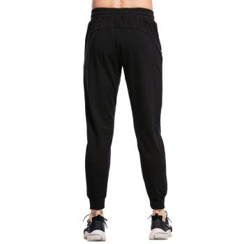 Stretchy Waist Two Zipper Pockets Jogger Pants - BLACK S