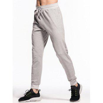 Stretchy Drawstring Waistband Two Zipper Pockets Jogger Pants - GRAY GOOSE S