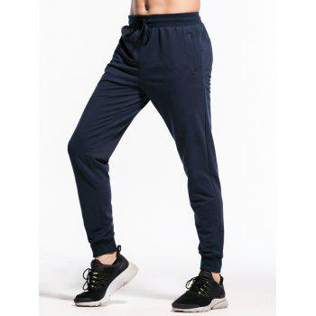 Stretchy Waist Two Zipper Pockets Jogger Pants - MIDNIGHT BLUE S