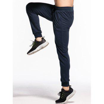 Stretchy Waist Two Zipper Pockets Jogger Pants - MIDNIGHT BLUE M