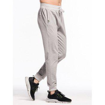 Stretchy Drawstring Waistband Two Zipper Pockets Jogger Pants - GRAY GOOSE L