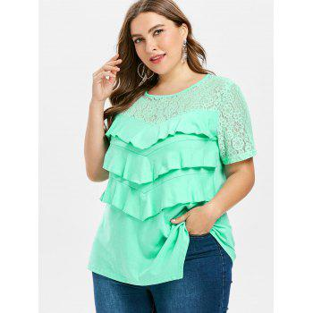 Plus Size Asymmetrical T-shirt - GREEN 3X
