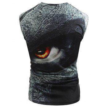 Casual 3D Angry Eyes Print Tank Top - GRAY L