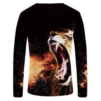 3D Roaring Lion Print Casual T-shirt - BLACK S