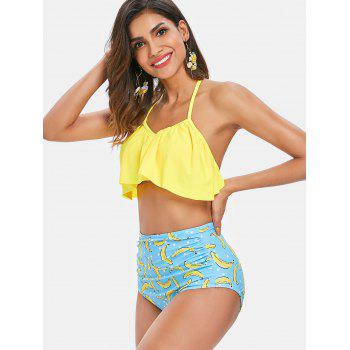 Ruffle Banana High Waisted Bikini Set - YELLOW XL