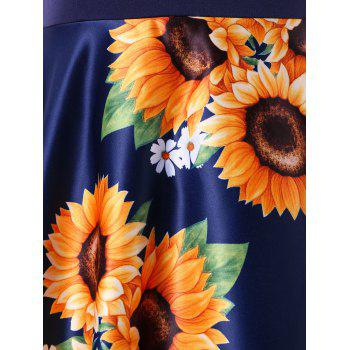 Sunflower Print Cap Sleeve A Line Dress - DEEP BLUE L