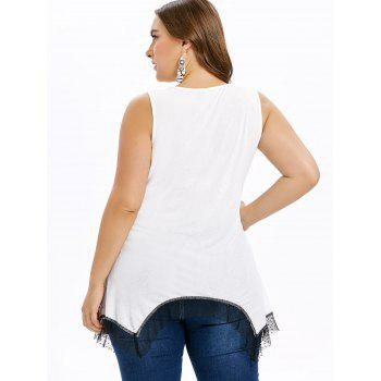 Mesh Hem Plus Size Music Note Print T-shirt - WHITE 1X