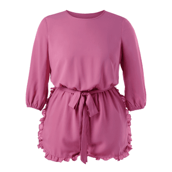 Plus Size Frills Trim Romper - PALE VIOLET RED L