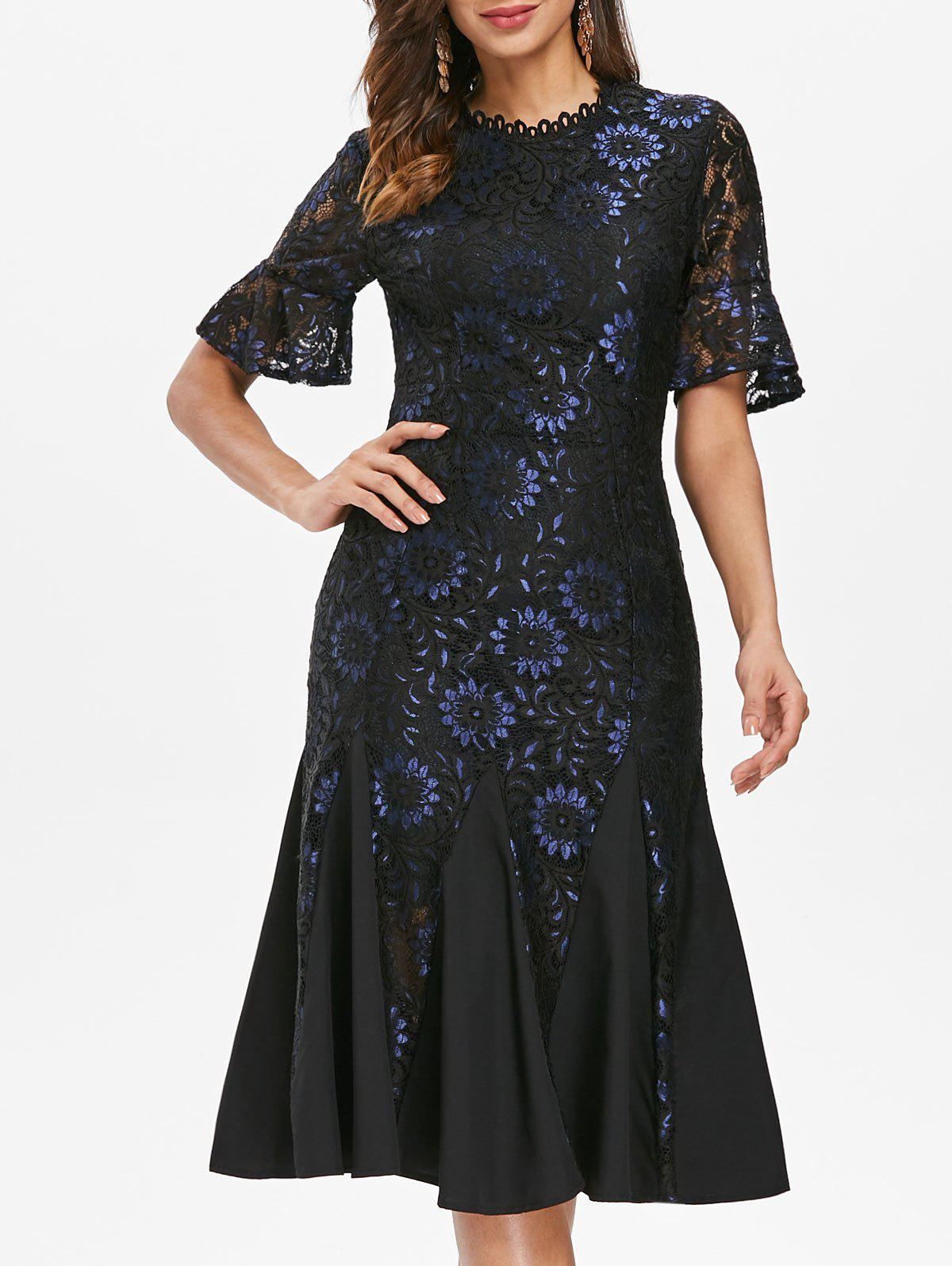 Lace Embroidered Midi Fishtail Dress - BLACK XL
