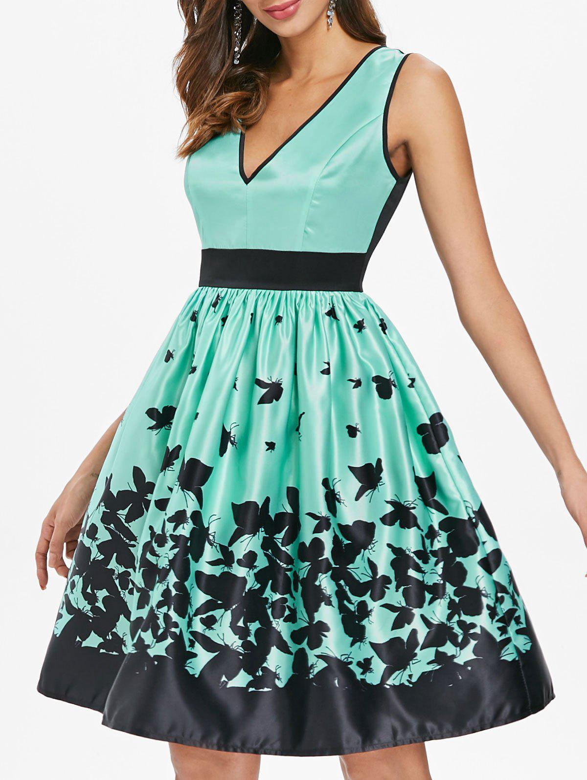 A Line Sleeveless Butterflies Dress - LIGHT AQUAMARINE M