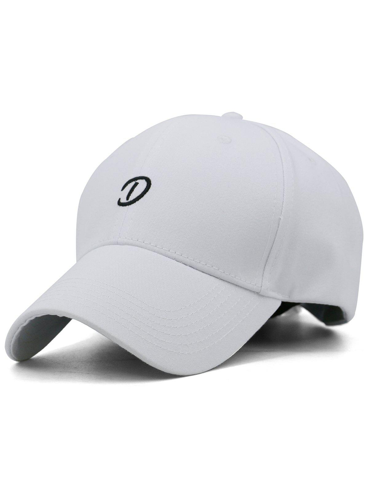 Letter D Embroidery Trucker Hat - WHITE