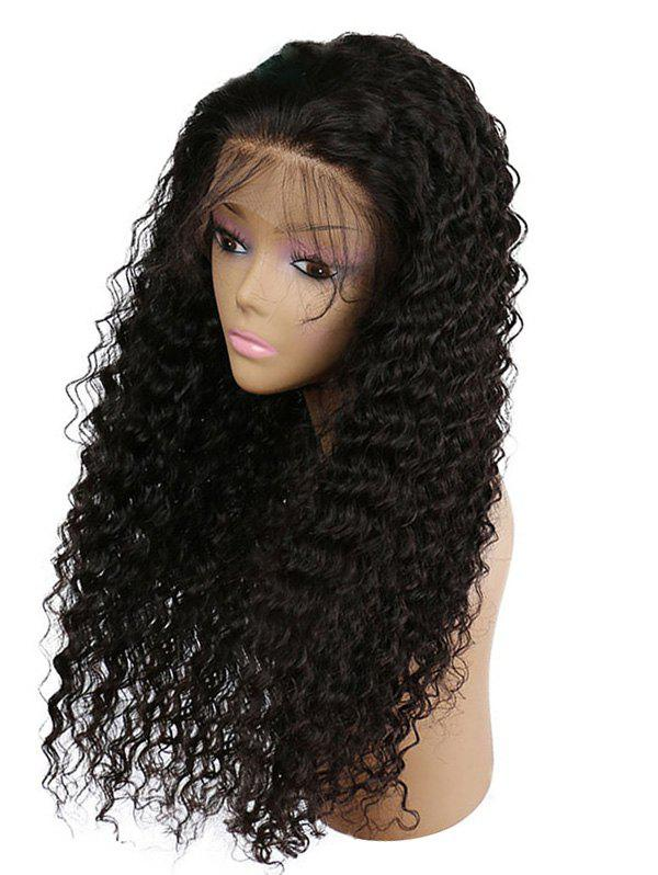 Free Part Lace Front Long Curly Synthetic Wig - BLACK