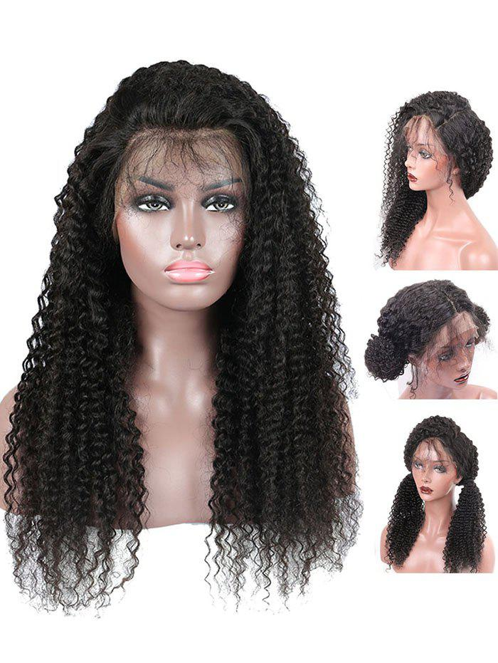 Long Free Part Curly Heat Resistant Synthetic Lace Front Wig - BLACK