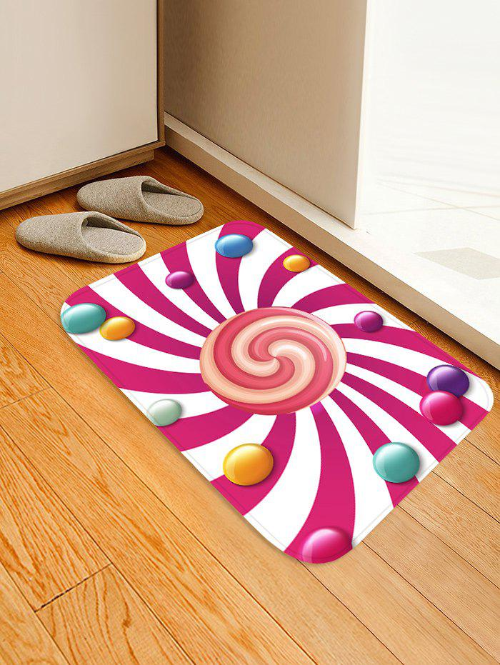 Lollipop Pattern Anti-skid Flannel Area Rug - DEEP PINK W16 INCH * L24 INCH