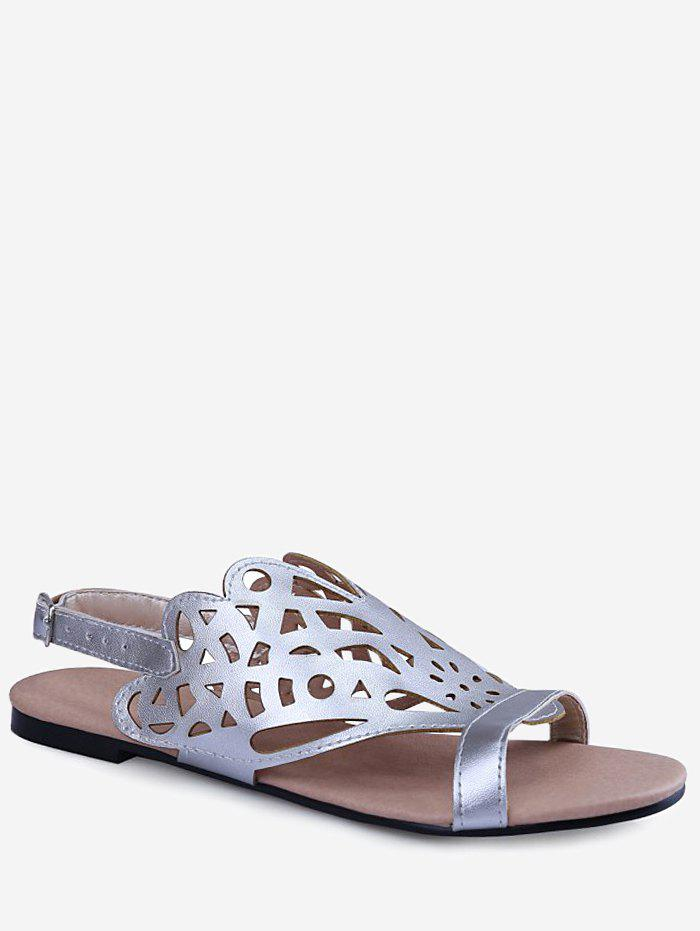 Plus Size Cut Out Dazzling Flat Heel Slingback Sandals - SILVER 39
