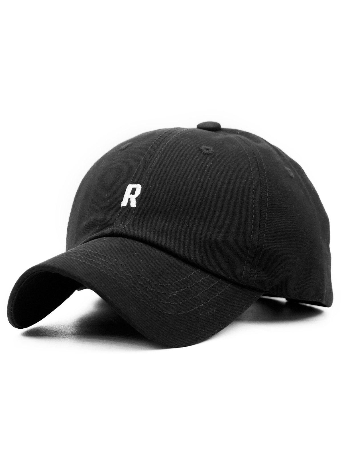 Letter R Embroidery Adjustable Hip Hop Hat - BLACK