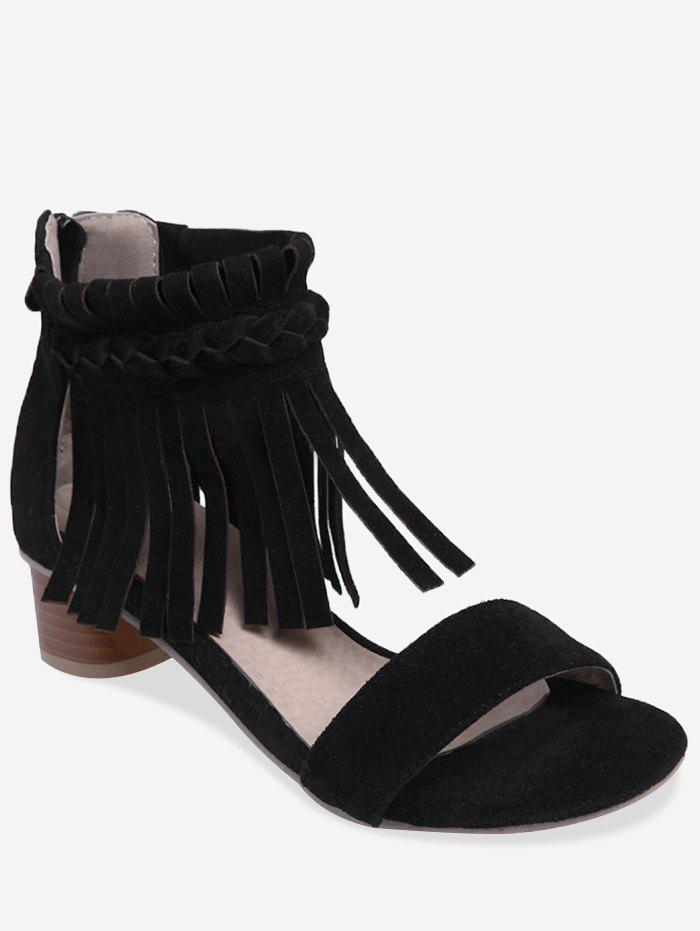 Plus Size Casual Crisscross Fringes Chunky Heel Sandals - BLACK 41