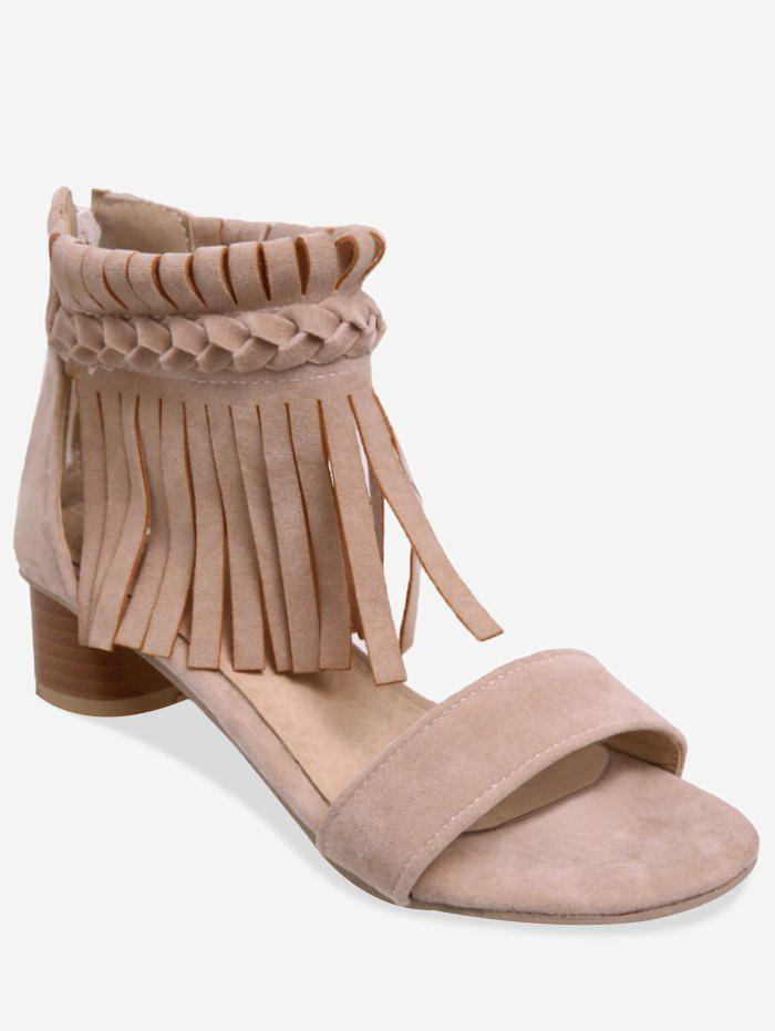 Plus Size Casual Crisscross Fringes Chunky Heel Sandals - BEIGE 38