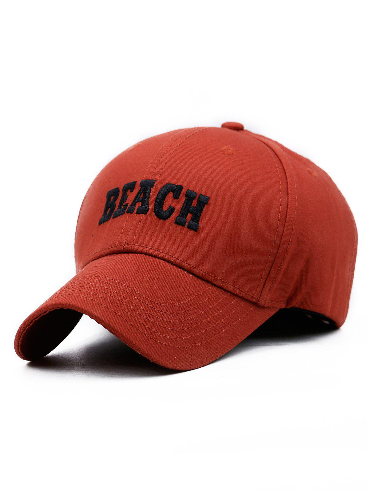 BEACH Embroidery Adjustable Snapback Hat - CHESTNUT RED