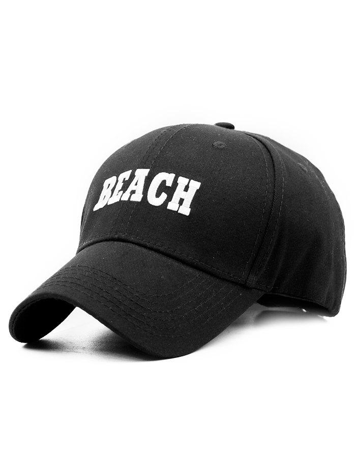BEACH Embroidery Adjustable Snapback Hat - BLACK