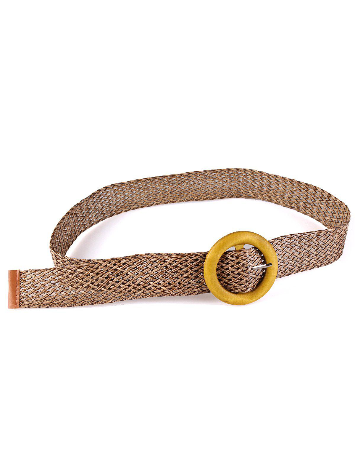 Ethnic Wooden Round Buckle Knit Waist Belt - DARK KHAKI