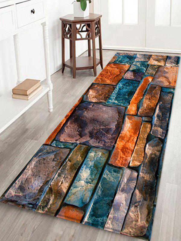 Stone Wall Pattern Anti-skid Floor Area Rug - multicolor W24 INCH * L71 INCH