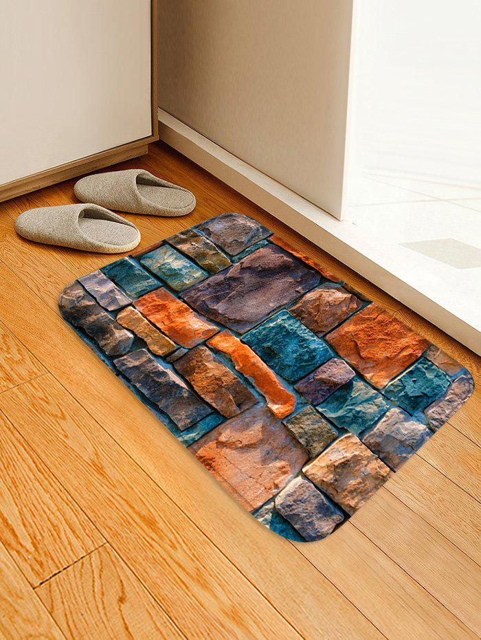 Stone Wall Pattern Anti-skid Floor Area Rug - multicolor W16 INCH * L24 INCH