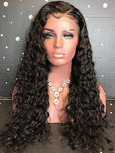 Side Parting Long Curly Lace Front Synthetic Fiber Wig - BLACK