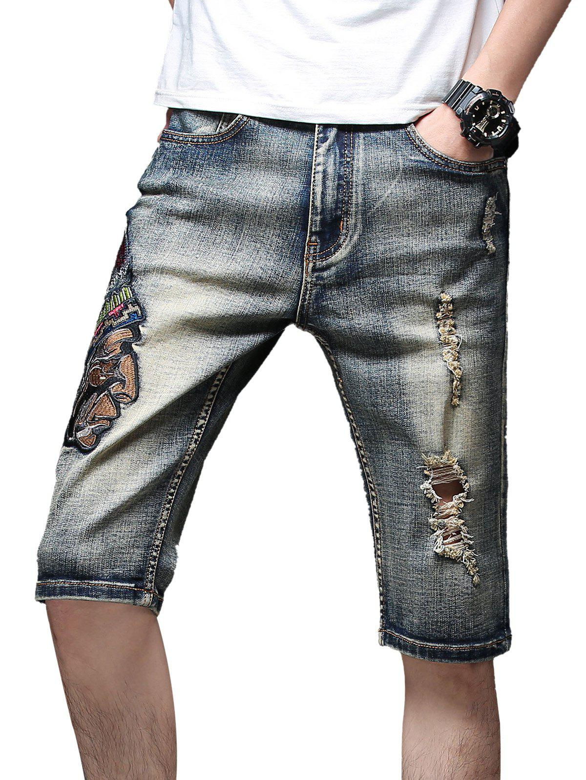 Retro Indian Embroidery Destroyed Casual Denim Shorts - MARBLE BLUE 36