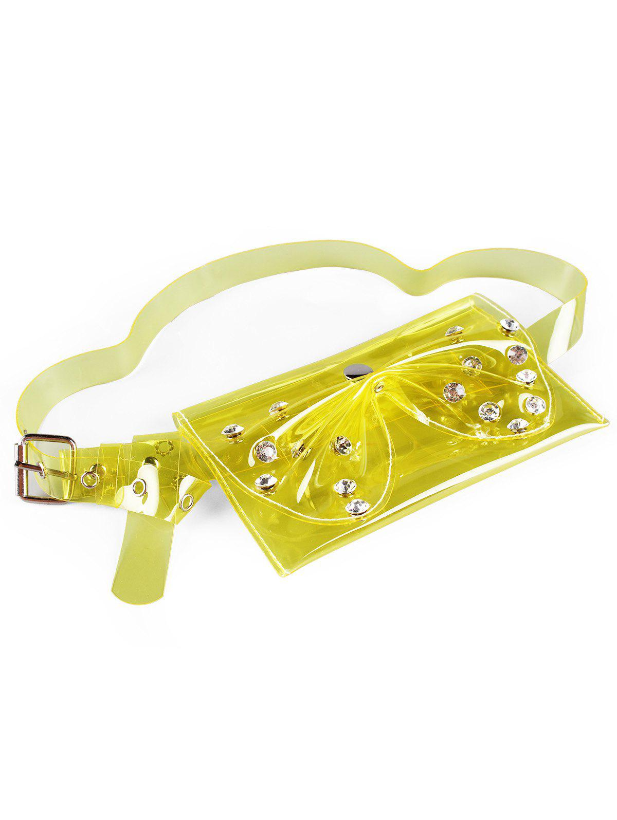 Stylish Rhinestone Bowknot Funny Bag Jelly Belt Bag - YELLOW