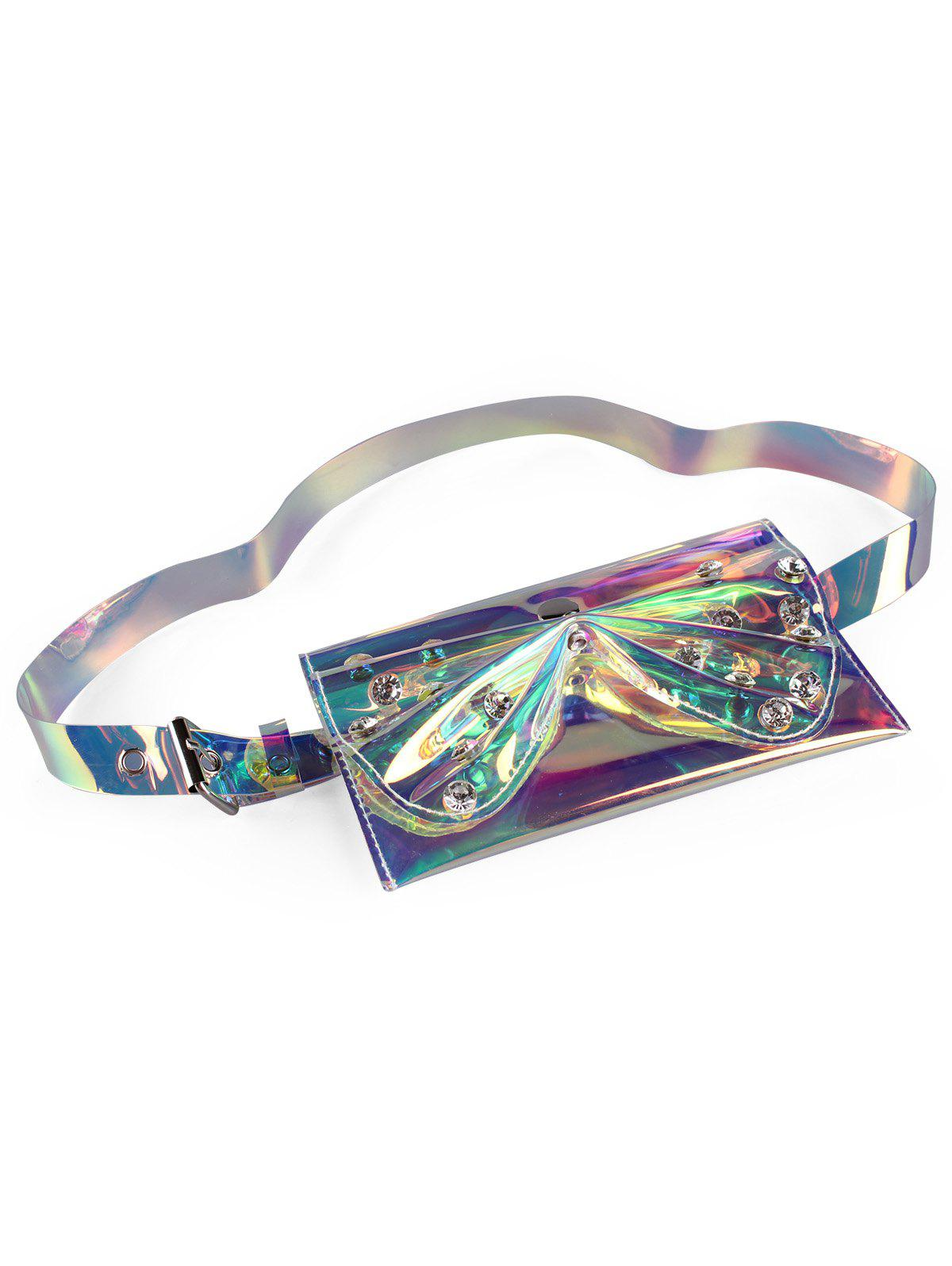 Stylish Rhinestone Bowknot Funny Bag Jelly Belt Bag - multicolor A